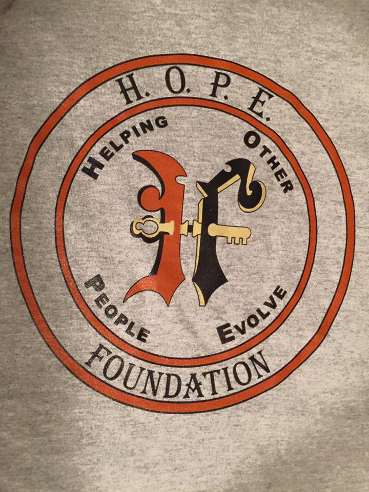 Shirt front  Receive your h.o.p.e. foundation t-shirt today with your $20 or more donation.