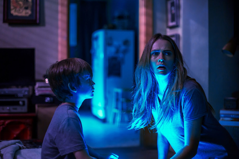 Teresa Palmer and Gabriel Bateman in 'Lights Out'
