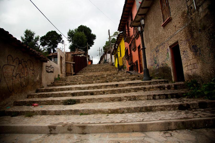 Subida a la parte más antigua de San Cristóbal de las Casas.