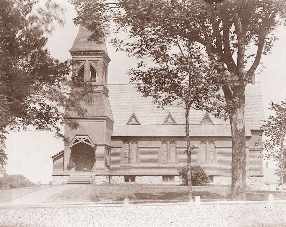 19th century photo of the New Church showing the original exterior.