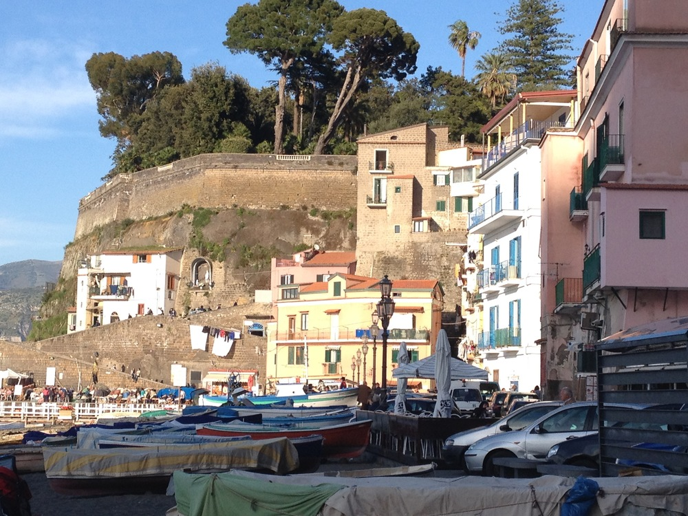 The harbor in Sorrento is a long steep downhill hike from the city. It used to be a separate town. Day boats bound for the islands that dot the Amalfi coast depart from here and we hop on one to spend the day on Capri.