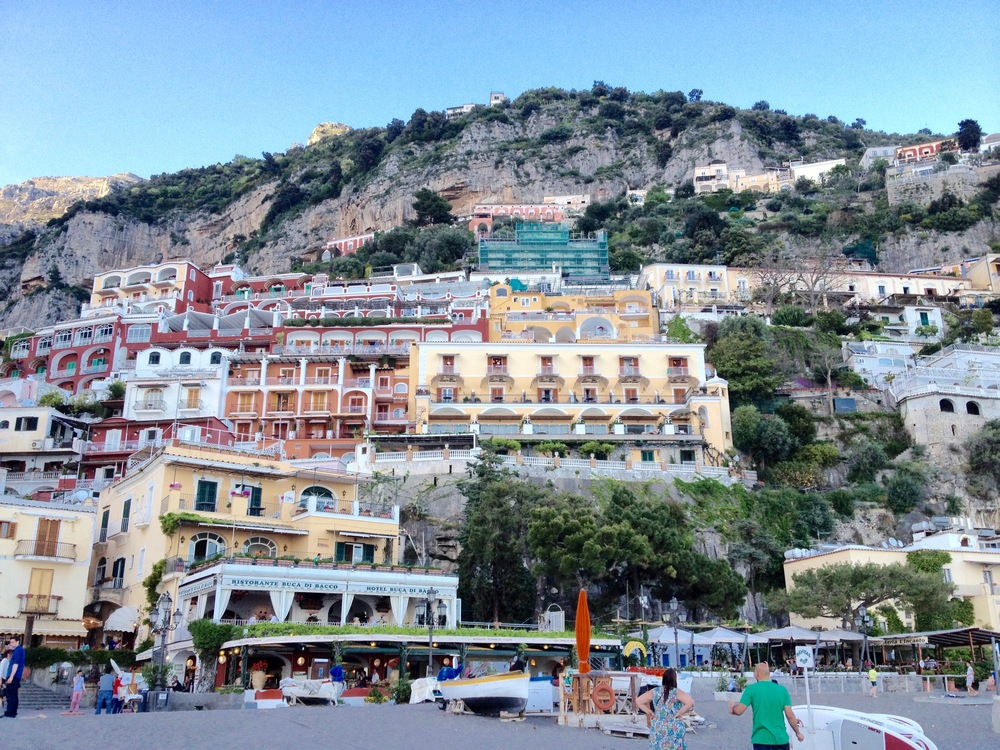 Positano's pastel buildings clinging to the cliffs on the Amalfi coast