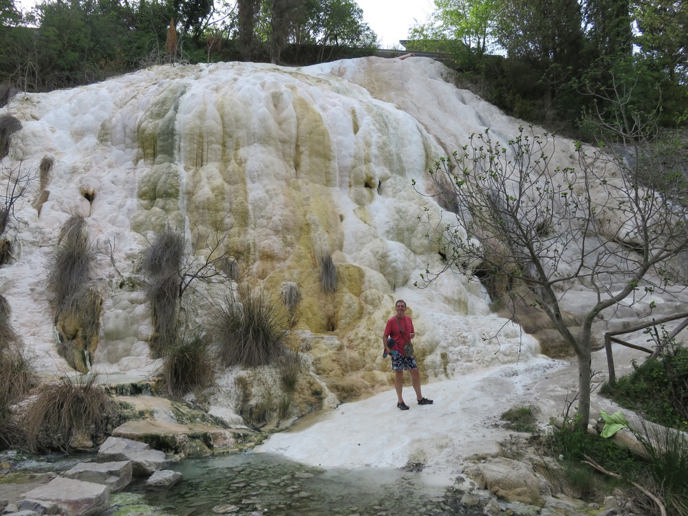 """Today consisted of meandering through the rolling hills of Tuscany and stopping at the natural hot springs of Bagni San Filippo to soak in a pool of hot mineral water in the middle of the woods...""""aah yes, Virginia, the best things in life really are free"""""""