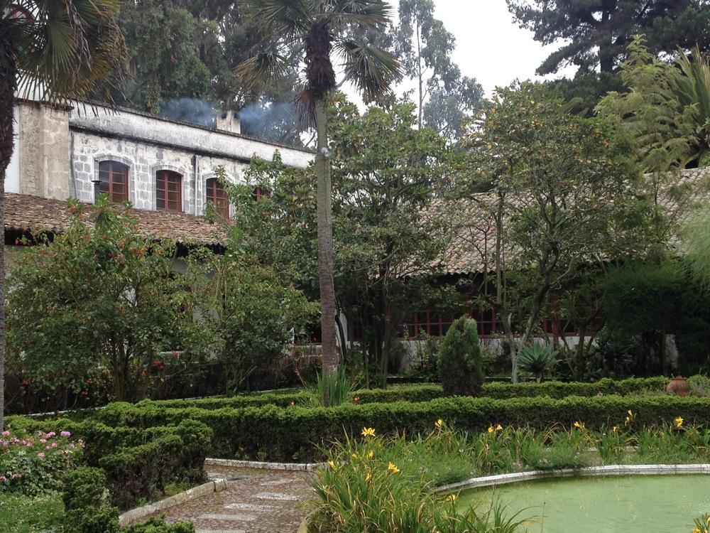 A typical Ecuadorian Hacienda surrounded by formal gardens