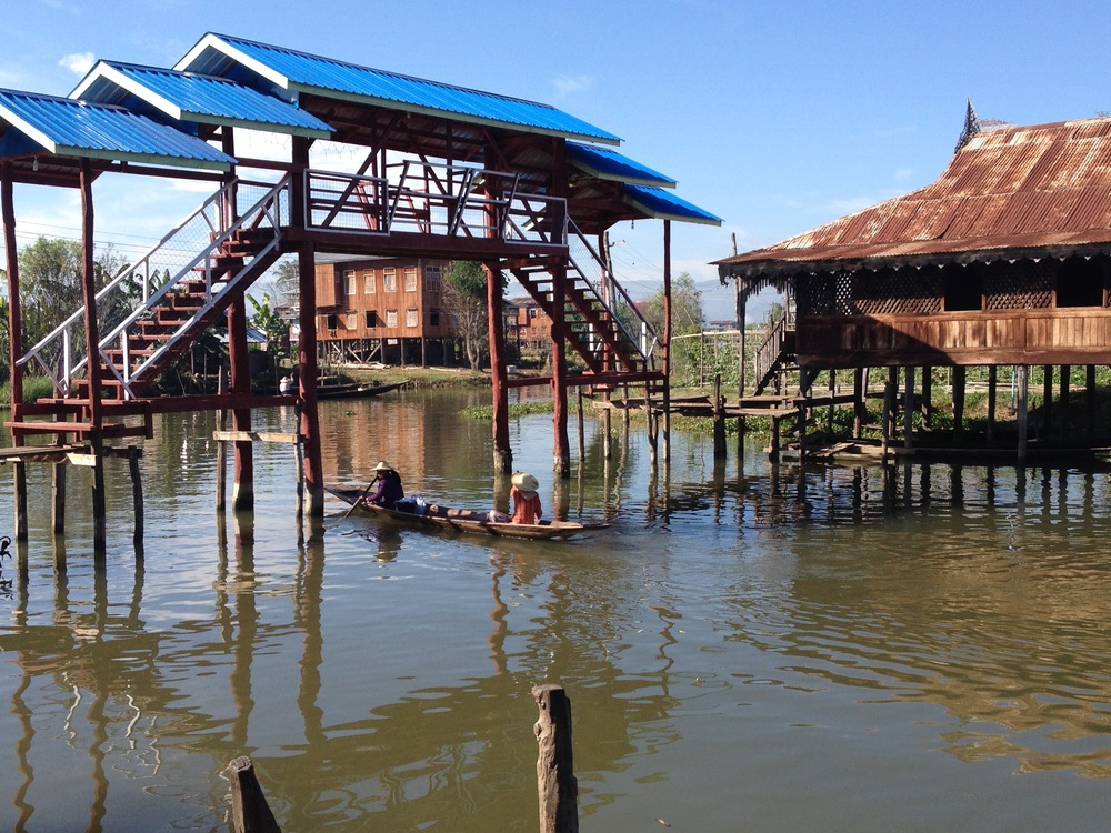 Relatively narrow but 12 miles long, big Inle lake is home to floating gardens, houses, and ethnic tribal villages.