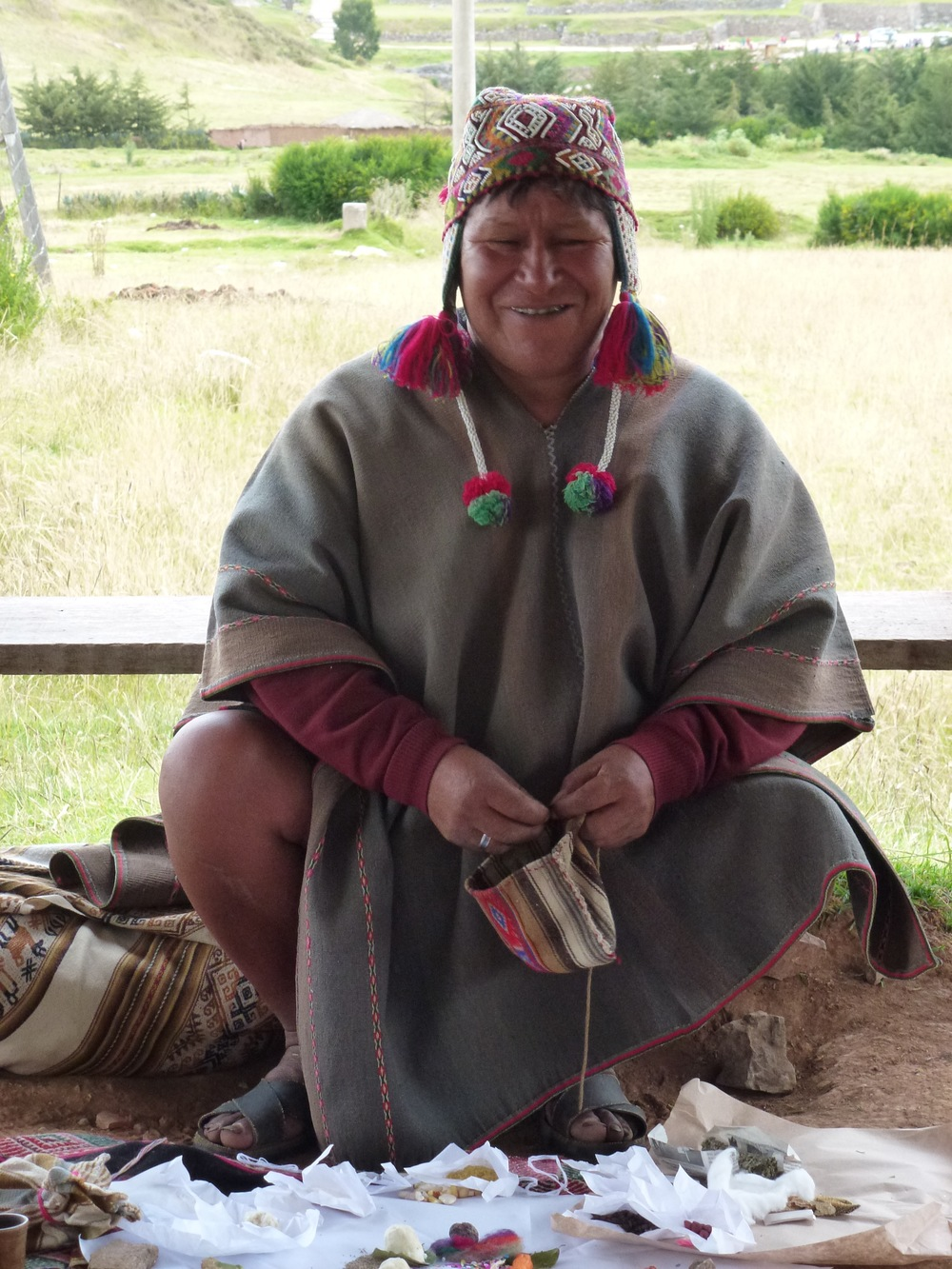 Our mestizo medicine man. He performed a curandero ceremony, an Incan healing ceremony using traditional and modern symbolism and drawing on the energy of the mountains and the earth.