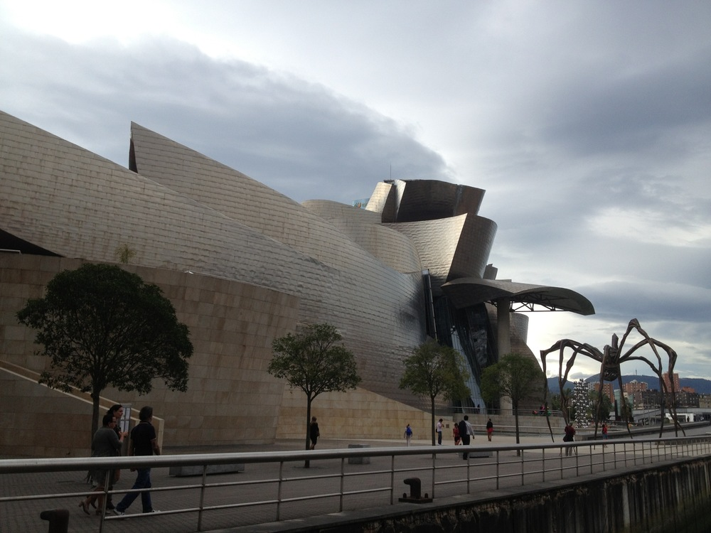 "The requisite stop off in Bilbao to see the Guggenheim Gehry Museum...the spider to the right is by a French sculptress and is called, ""Maman"" (Mommy in English)...per the brochure: she spins a beautiful and delicate web of life to hold her young and entrap her victims...hmmm..."