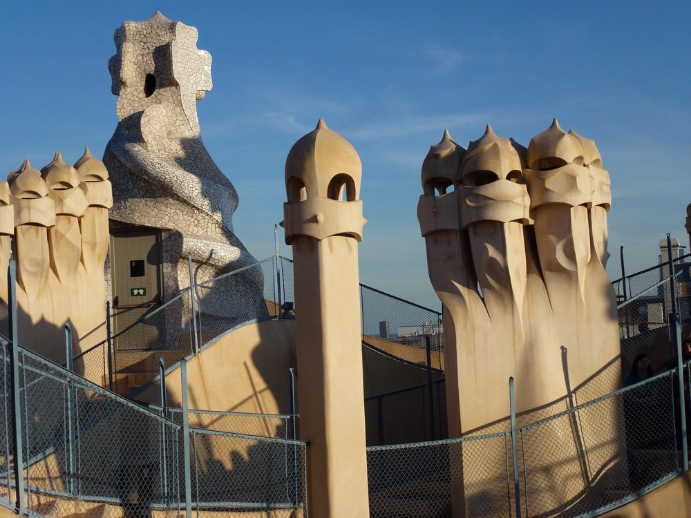 Smoke stacks on a 1910 Gaudi apartment building...the prototype for Darth Vader?