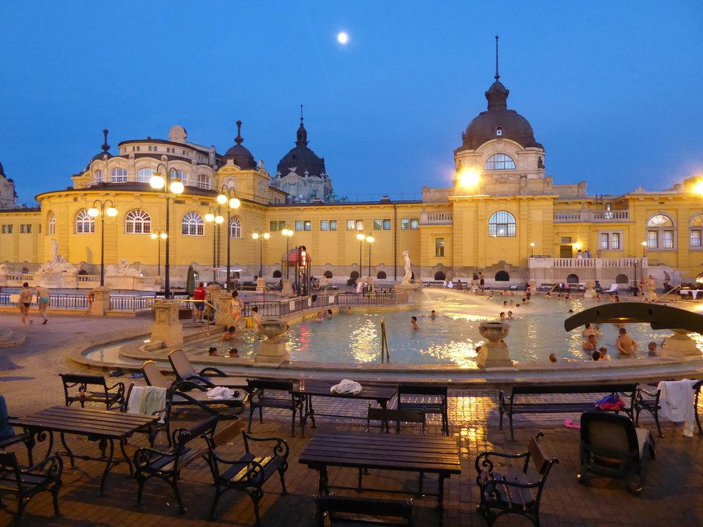 Széchenyi Baths beneath a full moon.