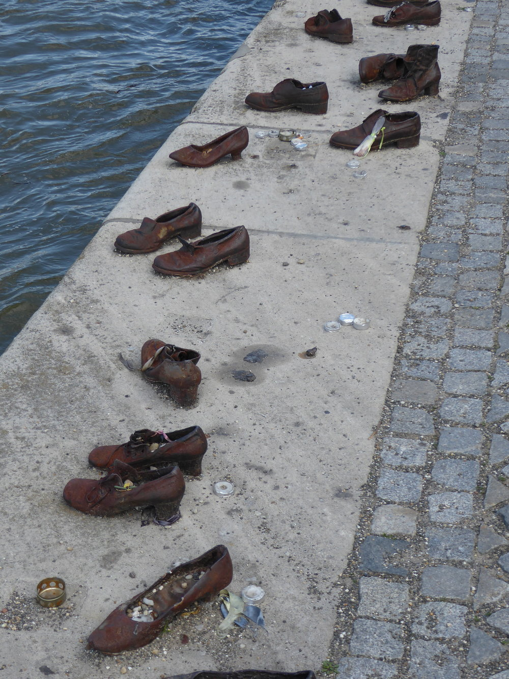Reminders of the holocaust are seen throughout the city. Here along the Danube are bronzed shoes of the Jews who were taken to this spot on the water's edge, shot, and then thrown into the river.