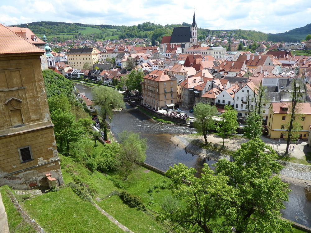 View of Cesky Krumlov in the Spring from its Castle