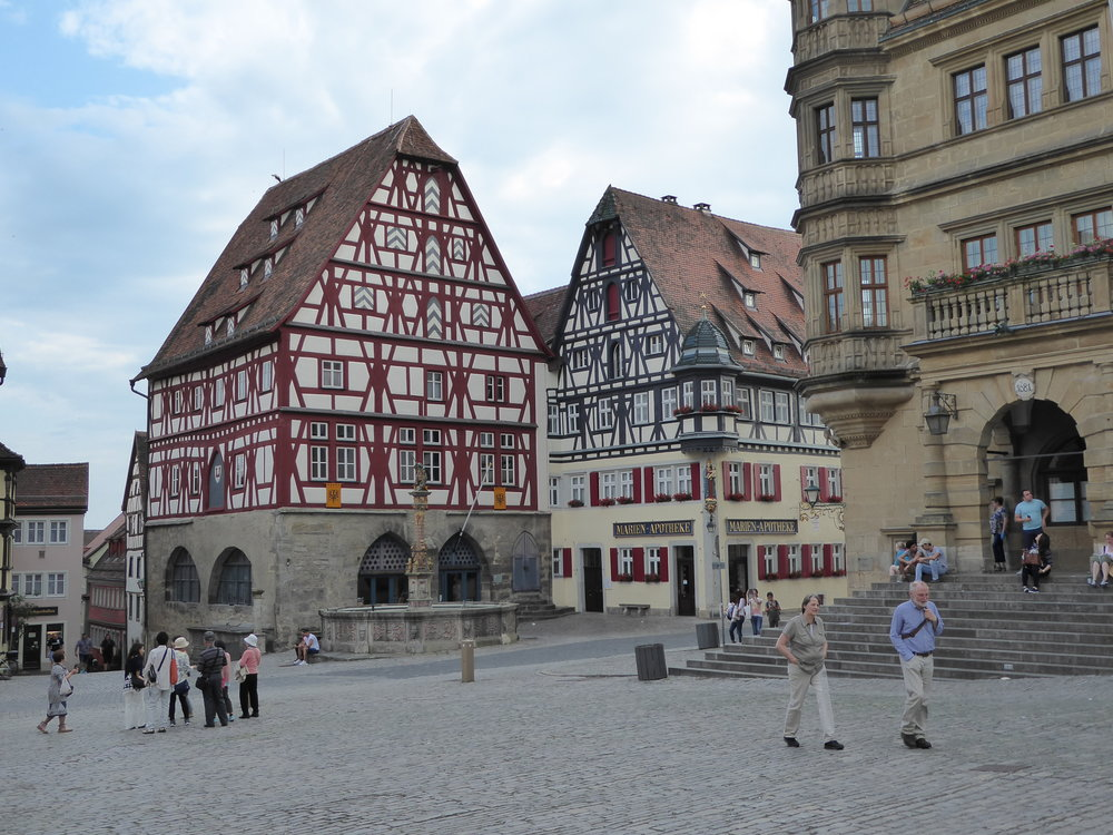Two photos of Rothenburg. Chock full of day trippers, this is purported to be the best preserved medieval city in Europe.