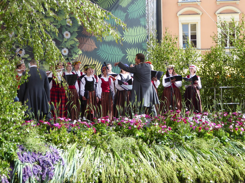 The longest day of the year is celebrated in Riga Latvia with performances by many choral groups.