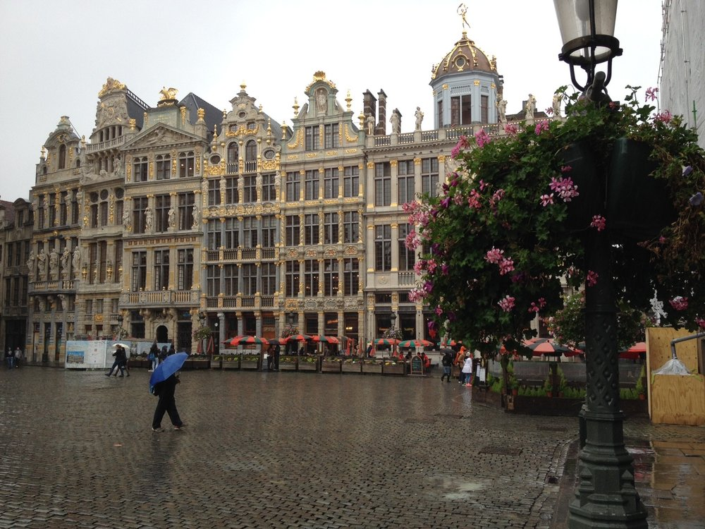 The Grand Place (Belgium) on a rainy day is still grand.