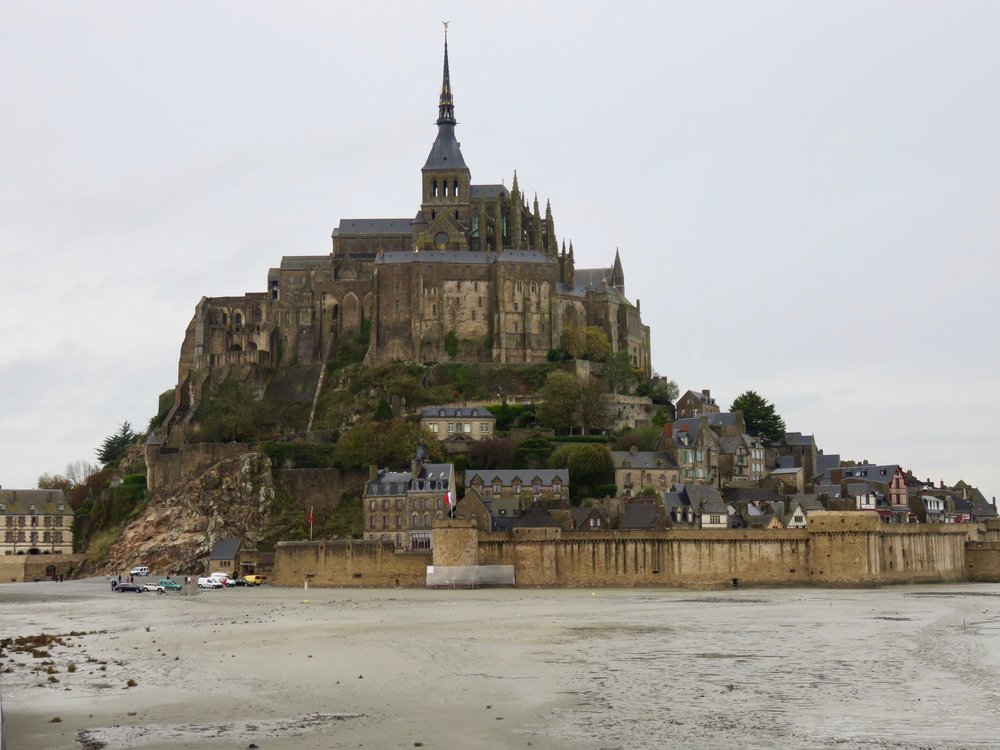 Wee took a side trip to Mont St. Michel in Normandy seen here at very low tide surrounded by mudflats.