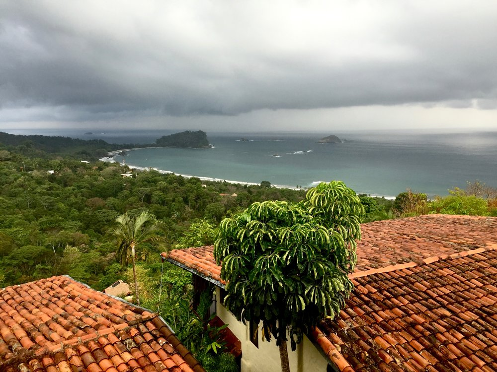 View from our breakfast patio overlooking Manuel Antonio National Park. It doesn't look as hot as it was.