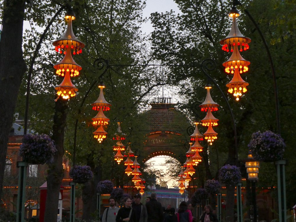 Tivoli becomes magical at night when the lights come on.