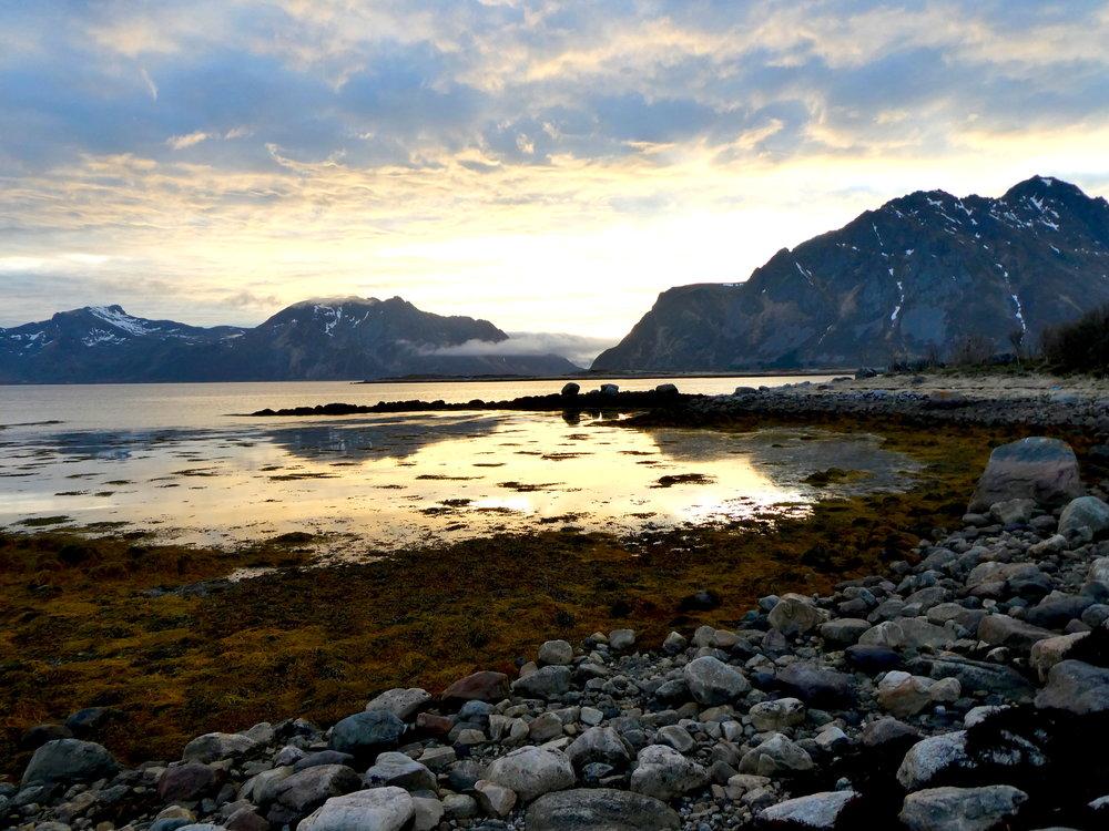 Nighttime on the Lofoten Islands.