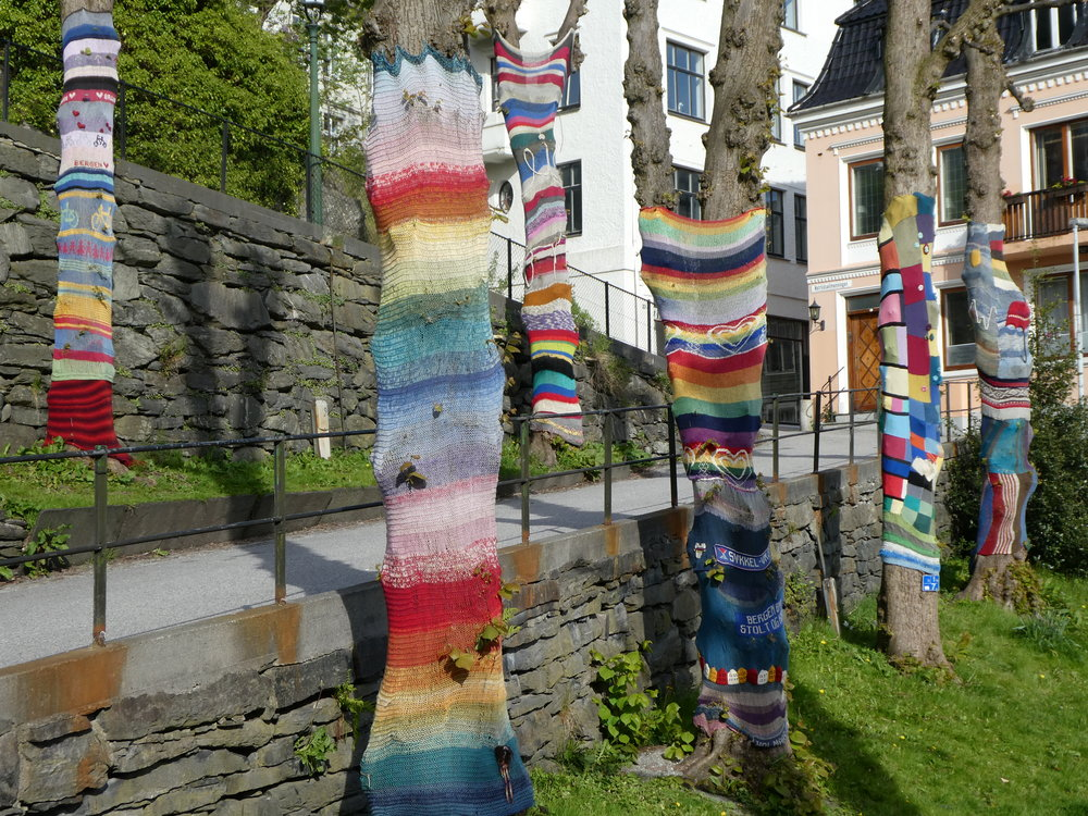 In Bergen, we note how well they care for their trees, knitting them wraps to keep them warm during the cold winter months.