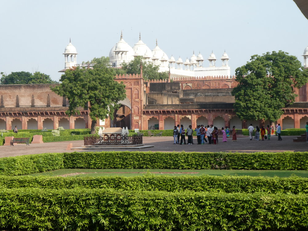 On the grounds of the Red Fort.