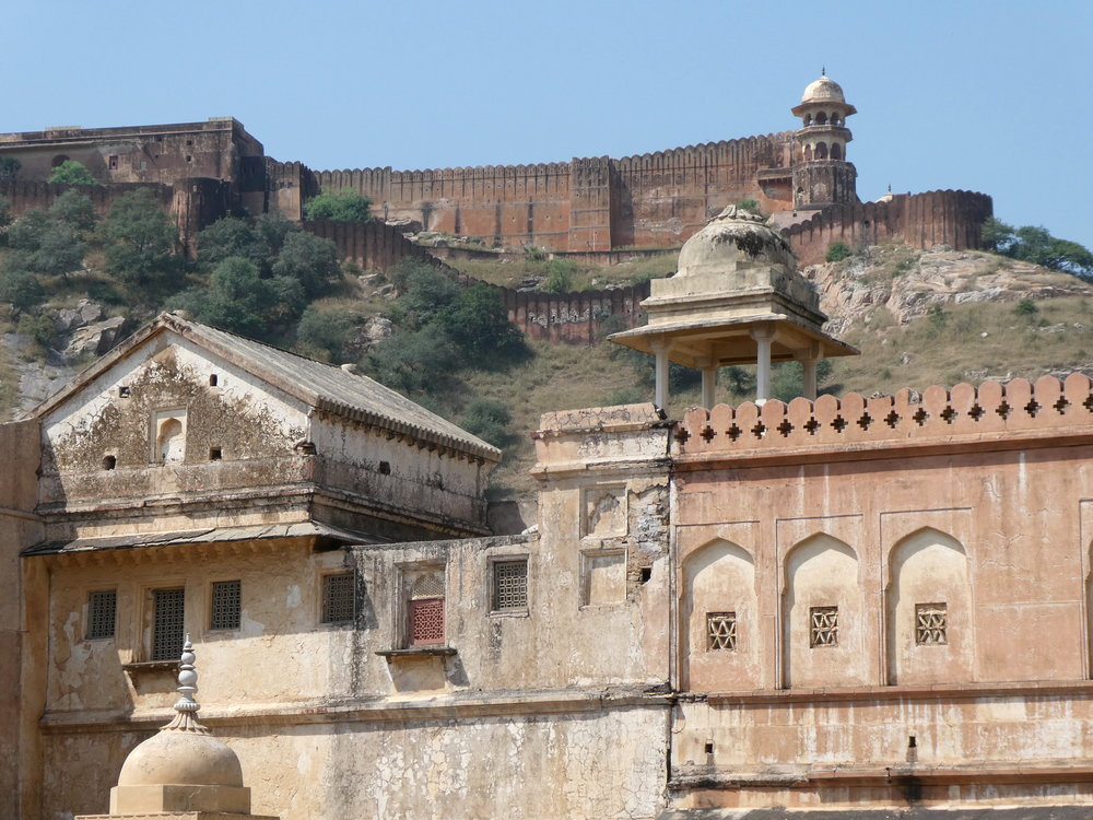 Arriving at the Amber Fort in Jaipur by elephant.