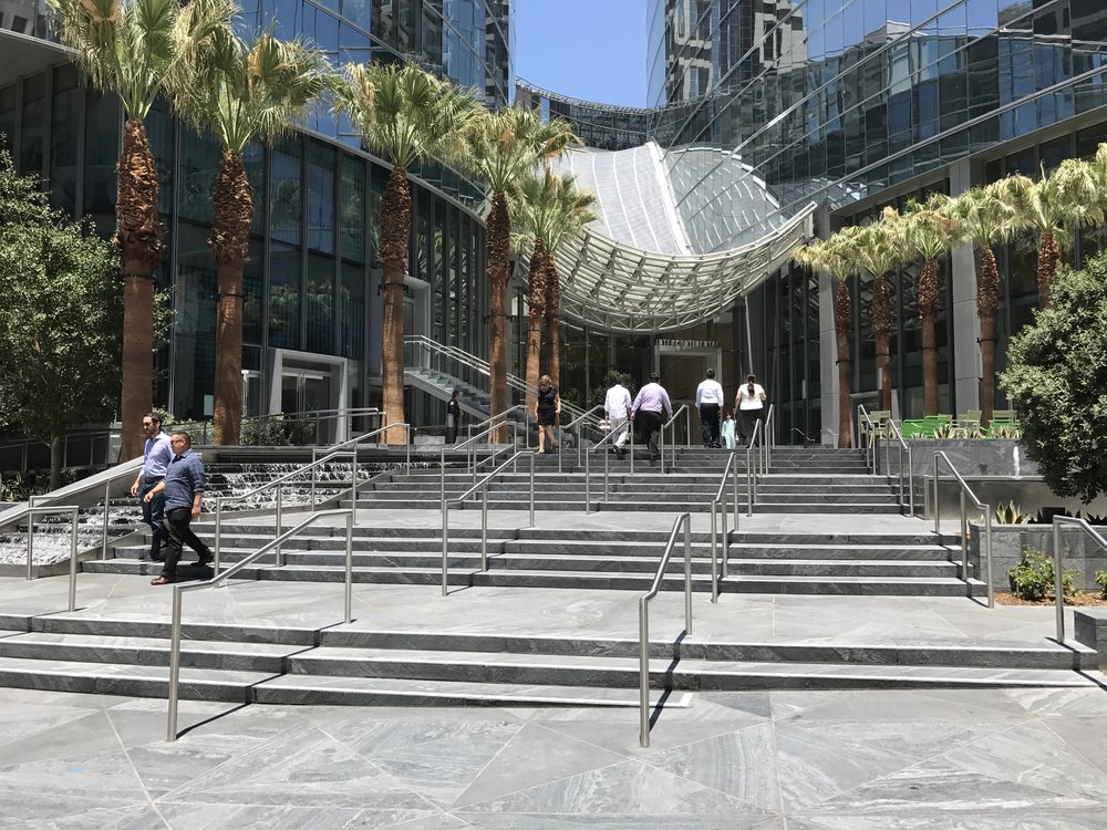 Wilshire Grand Center entry plaza and waterslide roof.