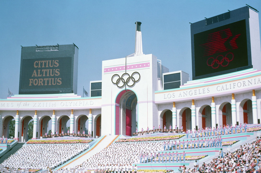 The Los Angeles Memorial Coliseum, transformed for the 1984 Olympics Opening Ceremony with a temporary structure.    Public Domain   photo via Wikimedia Commons.