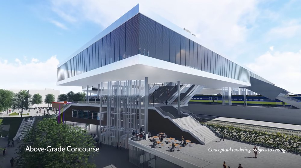 The four story elevators to carry passengers from the plaza level to the proposed concourse.  Screen capture from the   video   of the proposed above grade passenger concourse at Union Station.
