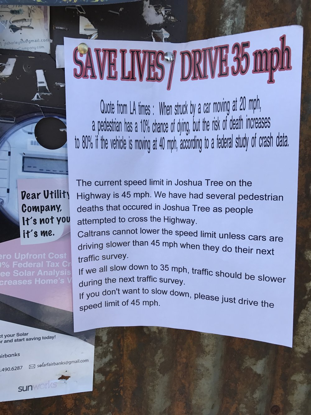 A flyer advocating lower speed limits in Joshua Tree, CA, April 2017.