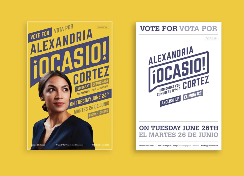 Campaign posters for Alexandria Ocasio-Cortez.  Image by Tandem NYC, via the Washington Post.