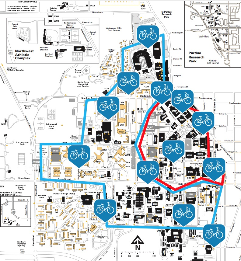 Bike share station placement on campus