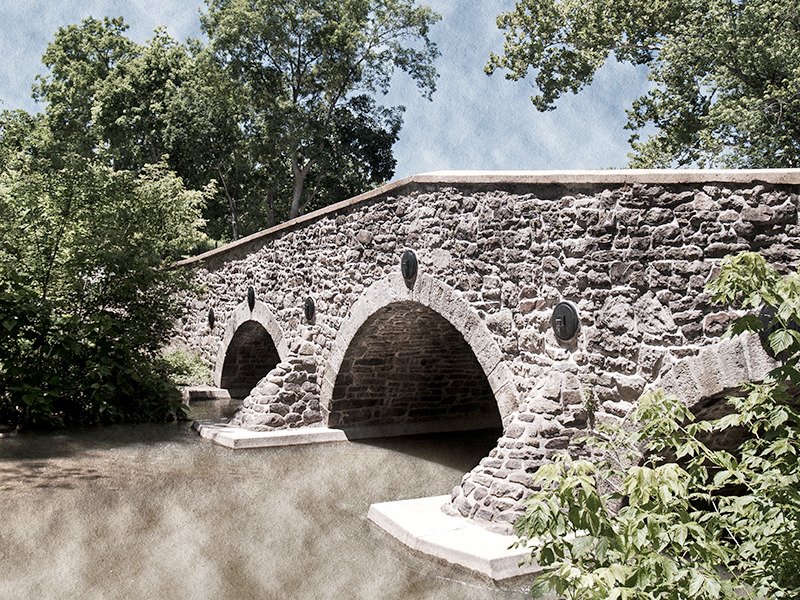 John's Burnt Bridge, built between 1800-1824. Rehabilitation occurred in 2005-2006.