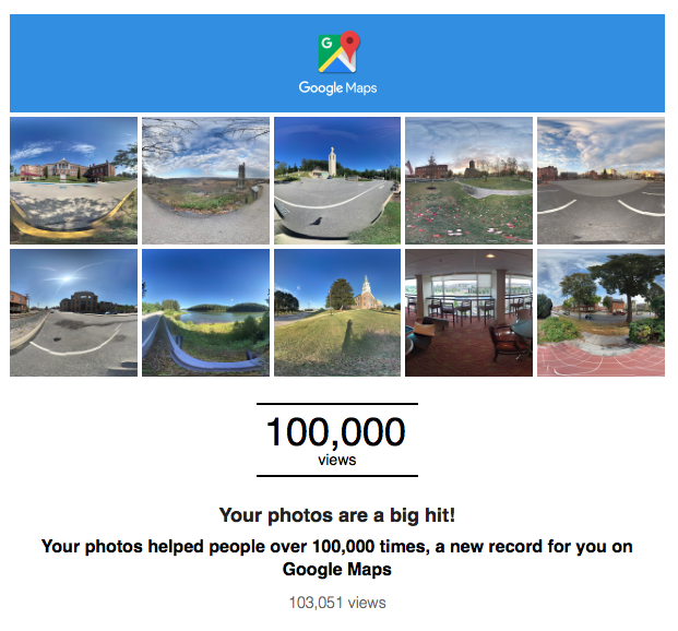 Inside Hanover's (Andrew Smith) 360 degree panoramas have been viewed over 1000,000 on Google Maps and apps!