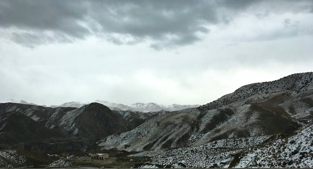 Snowy Alborz mountains on the drive to Behshahr.