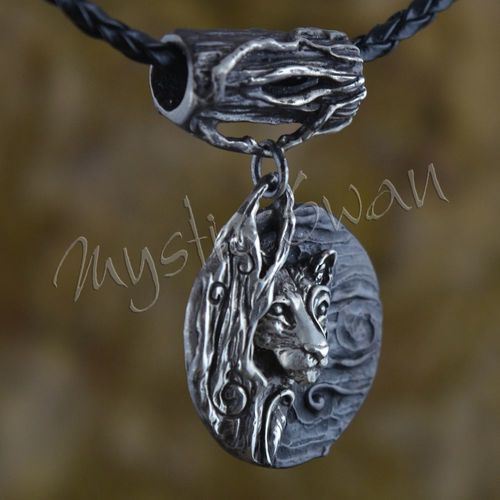 Spirit cougar fantasy pendant with tube bail in sterling silver spirit cougar fantasy pendant with tube bail in sterling silver aloadofball Images