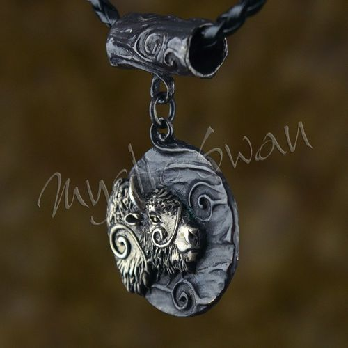Spirit bison fantasy pendant with tube bail in sterling silver spirit bison fantasy pendant with tube bail in sterling silver aloadofball Images