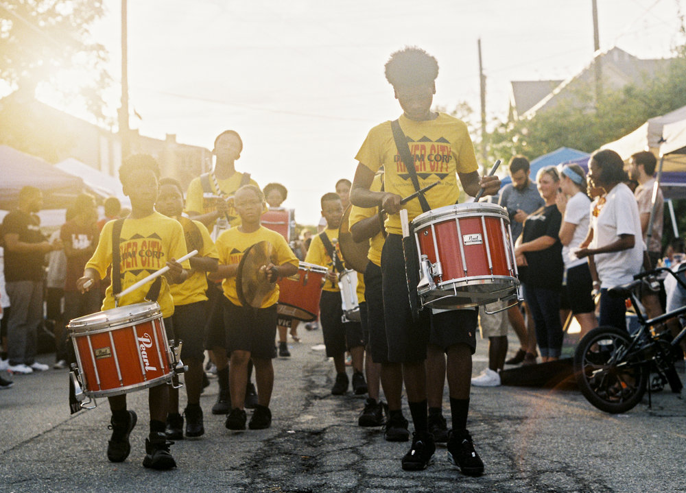 The River City Drum Corp performs at the Smoketown Get Down for Democracy on September 16, 2016.