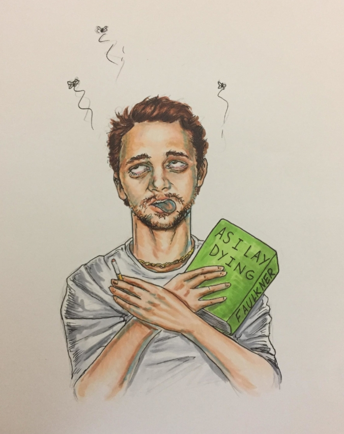 Peter decided to do a dead James Fanco for this piece. I think James Franco would have a sense of humour about being our dead pretentious artist!