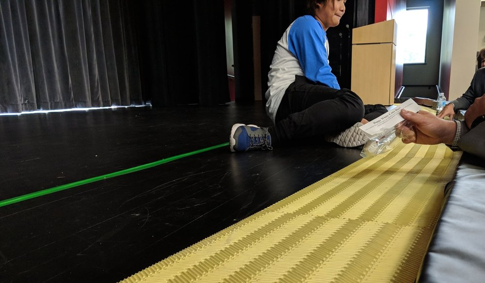 The change in floor texture is a tactile signal for visually impaired students that they are nearing the edge of the stage.
