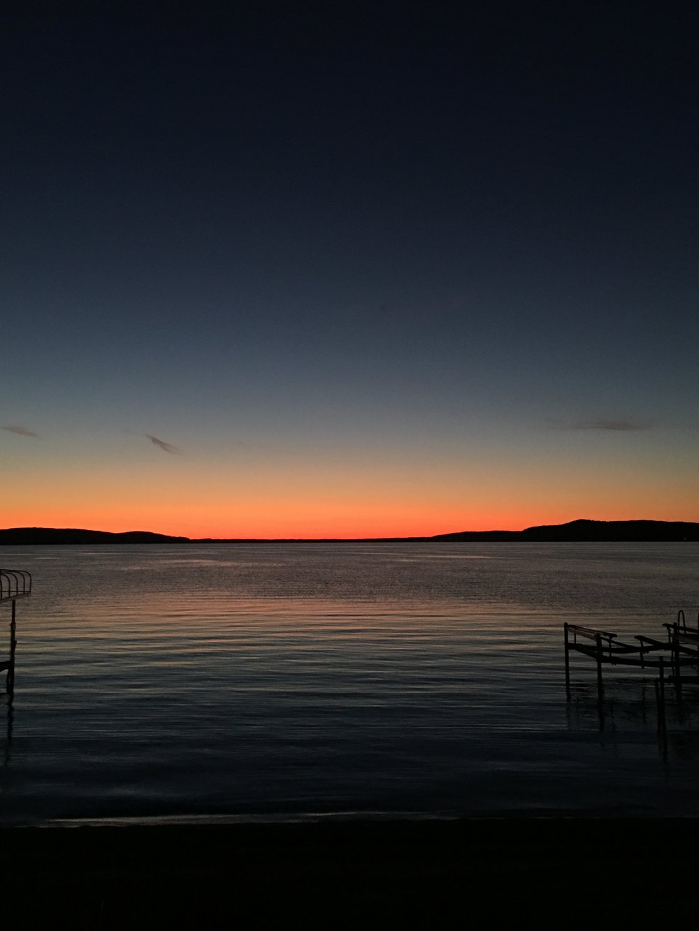 Sunset over Crystal lake in Benzonia, MI