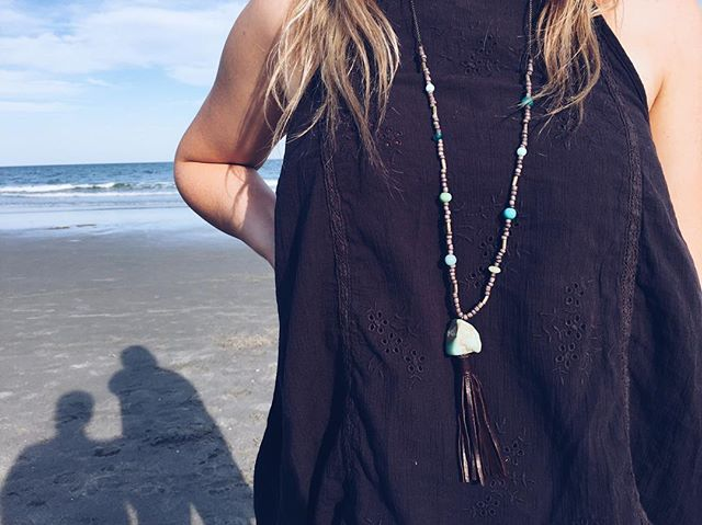 The ocean is everything I want to be. Beautiful, adventurous, wild, and free🌊🌸 This handmade necklace is full of sweet stone beads and a soft leather tassel.  #joy #love #endsextrafficking #jewlery #necklace #hope #beauty #ocean #summer #sunshine #anthro #surfergirl #surf
