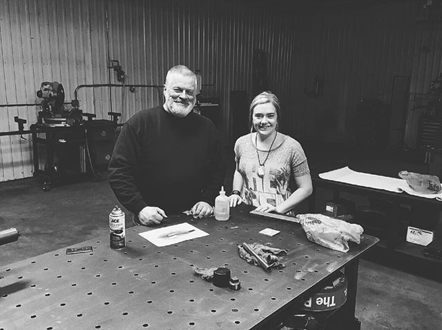 SMILES ALL AROUND. So sweet to have been able to be in 6L's workshop. It's important to take wisdom from others who have gone before you. #makingfriends #wisdom #smiles #workshop #metalshop #joy #allinfortheking