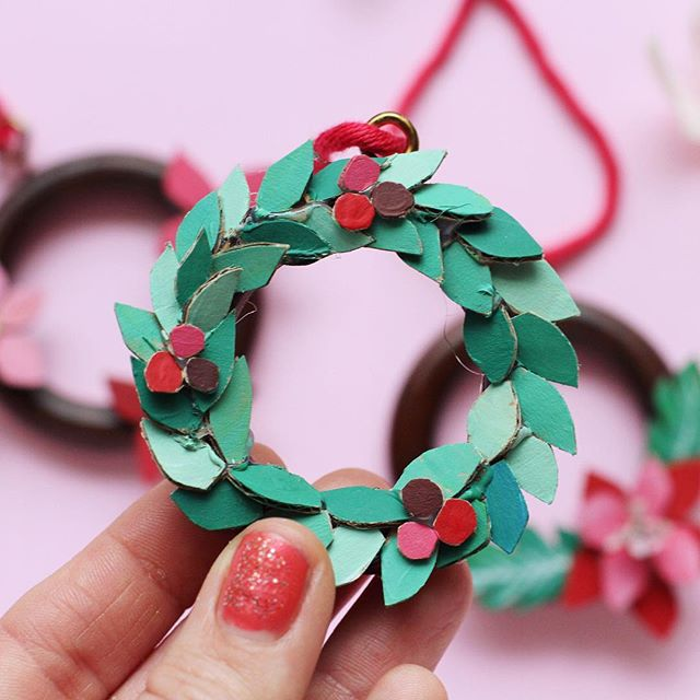 So I never got around to making a wreath for my door. I did however make these teeny weeny ones for my tree from cardboard and curtain rings. I just snipped the cardboard with small sharp scissors and glued it all together before painting. . And with that dear friends my Christmas crafts are done! Bit of a marathon of making this year so thanks for sticking with me. . Happy holidays whatever you are celebrating. May it be safe and oh so merry. Xxxx