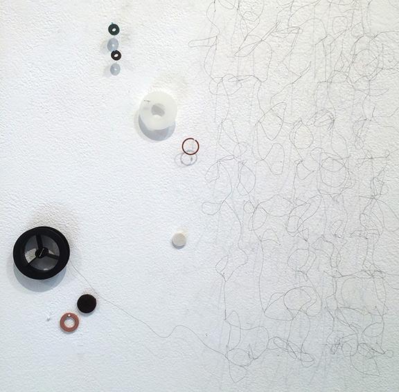 Tingle ( detail ),  2015, mixed media, 18. x 72 x 2 inches