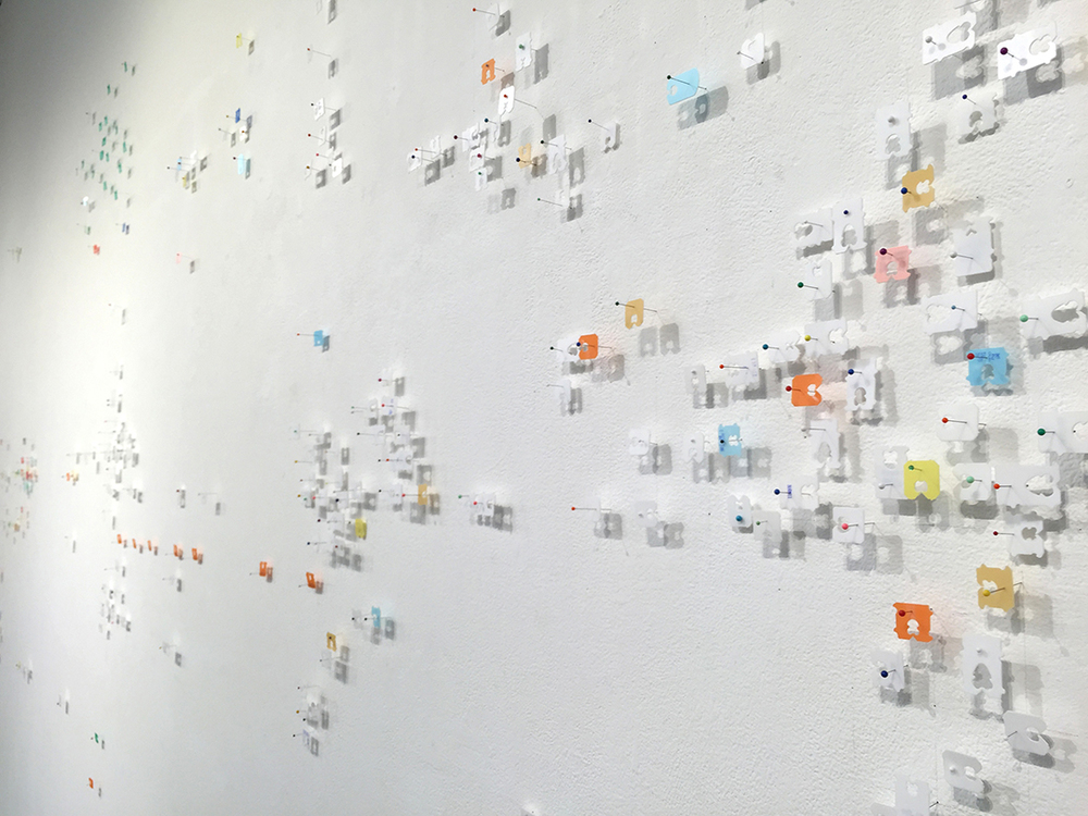 Best By,  2015, mixed media wall installation, 10 x 31 feet