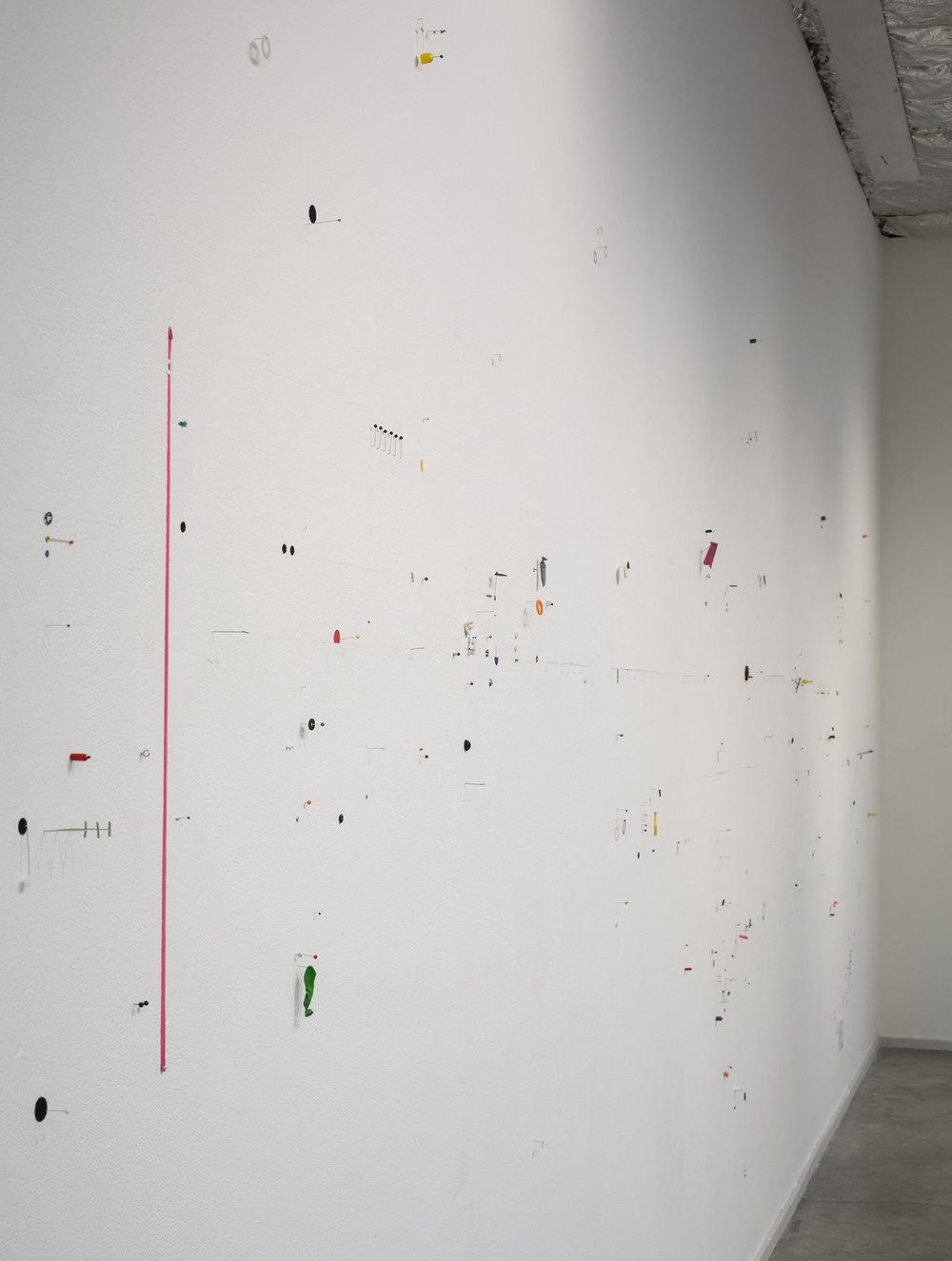 Mooring,  2013, mixed media wall installation, 10 x 31 feet