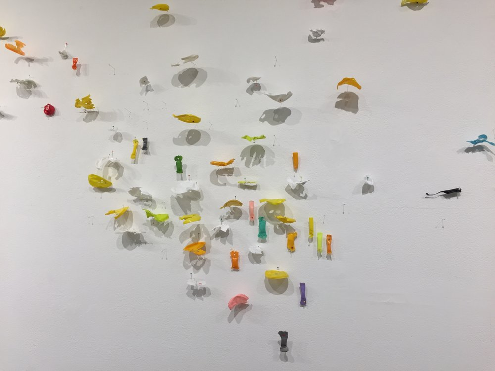 Sift,  2017, mixed media wall installation, 10 x 31 feet