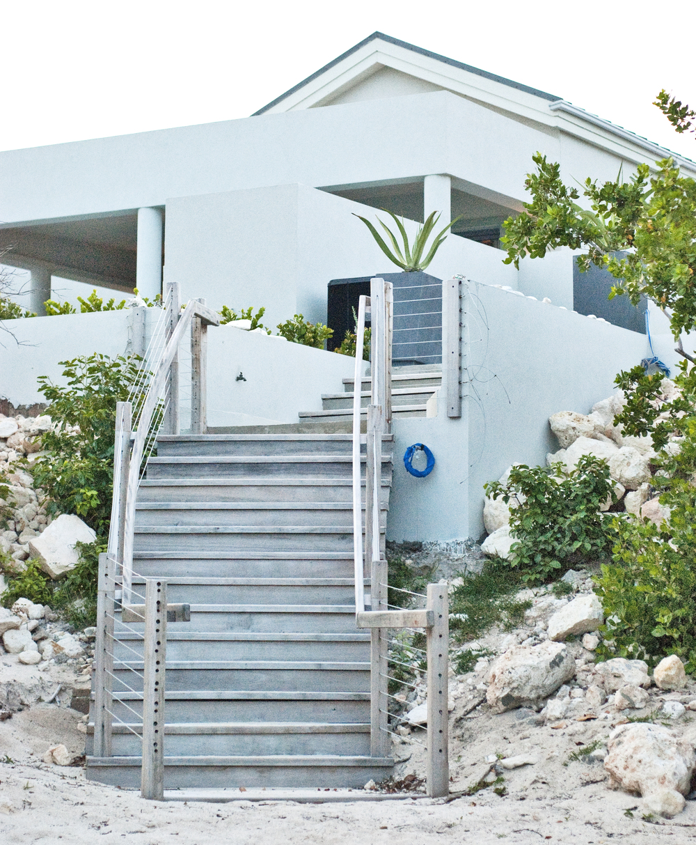 Stairway to beach from villas