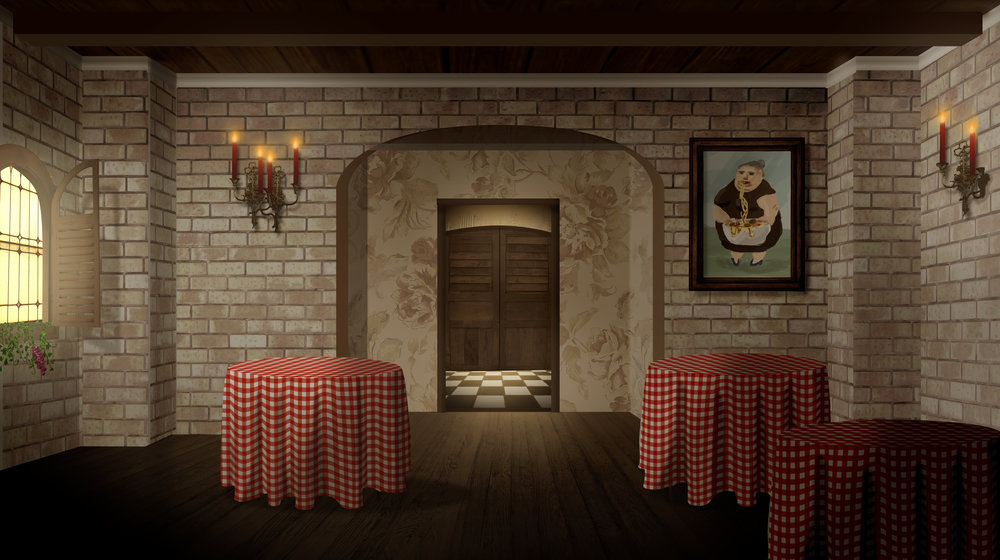 Cafe interior - this is a background for an animated film.
