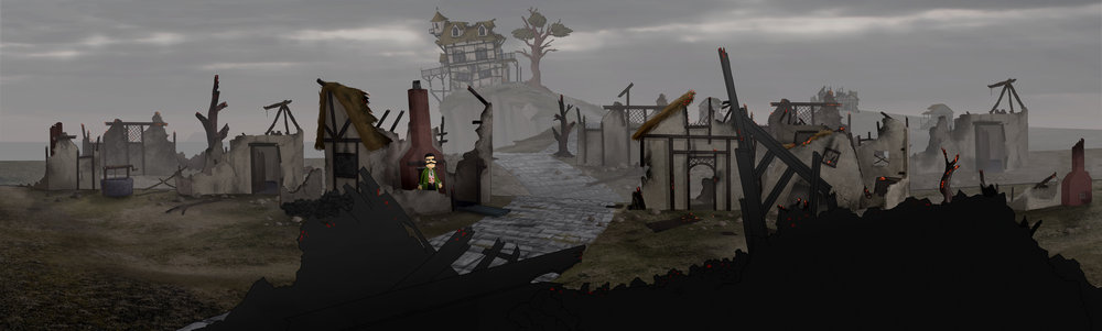 Burned Village - this is a fully rigged and layered photoshop image for a scene in an animated pilot.